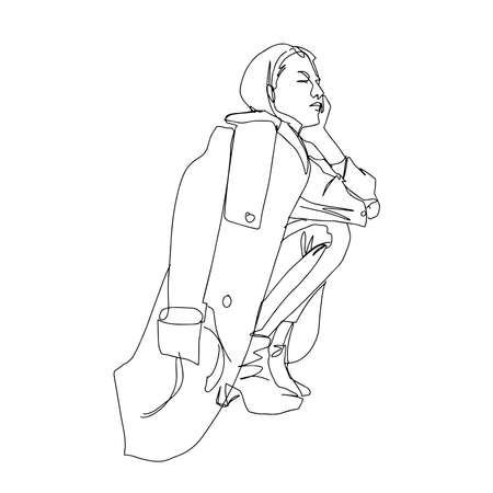 Girl in a raincoat, squatting. Linear style. Vector illustration.