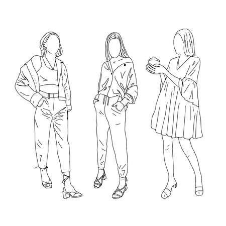 Three girls in different styles of clothing. Linear style. Vector illustration. Ilustração