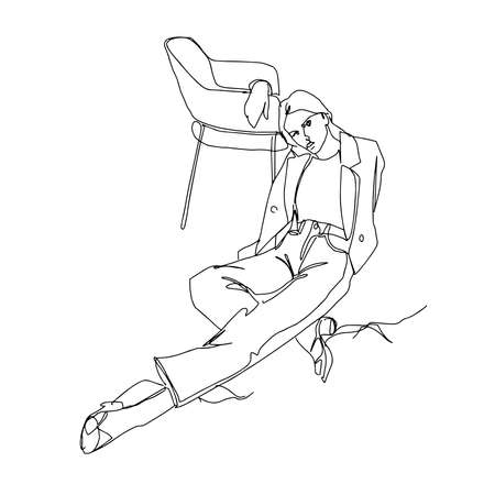 The beautiful girl leaned on the chair. Linear style .Vector illustration.