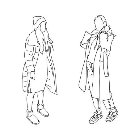 Two girls in autumn clothes. Linear style. Vector clipart.