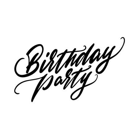 Birthday Party Handwritten lettering made by brush. Vector illustration.