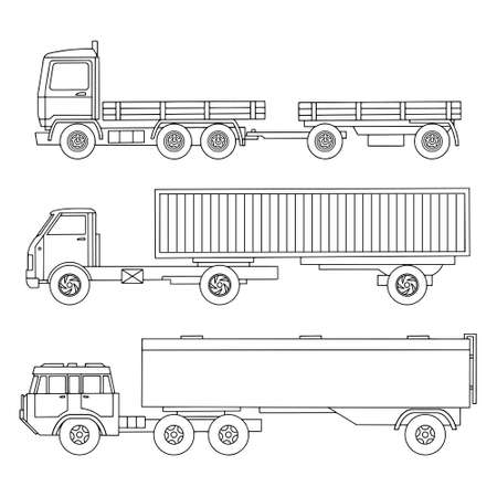 A set of linearly drawn heavy trucks. Gasoline tanker. Truck with trailer, Container. Vector illustration