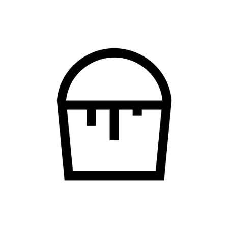 Outline icon. Bucket emblem. Isolated on white. Vector illustration Ilustração