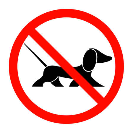 Black silhouette of a dog in a prohibition sign. Dachshund. Vector illustration