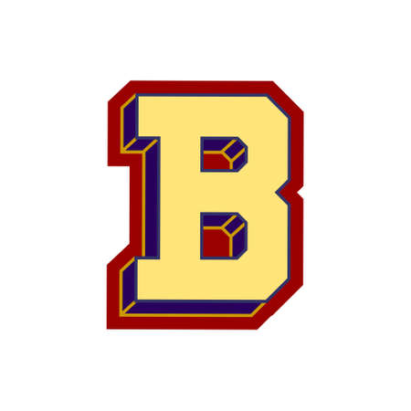 Letter B in serrated type. Vector illustration.