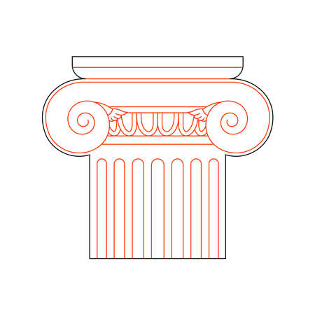 Ionian Greek Column in Linear Style for Laser Cutting and Engraving. Vector illustration.TOCK