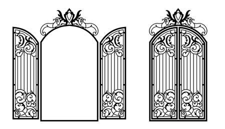 Silhouette of an ancient gate.Decorative architectural element for laser cutting. Vector illustration