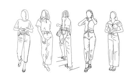 Girls posing in a collection of summer clothes. Linear style. Vector illustration.
