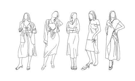 Sexy girls in a linear style.Vector illustration. Ilustração