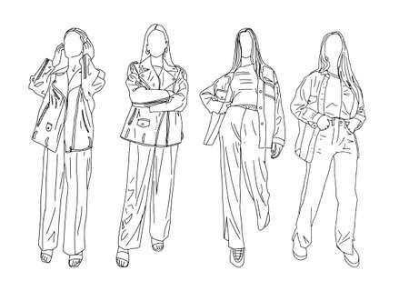 Girls Biker Jackets. Linear Style. Vector Illustration