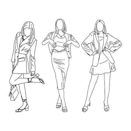 Three girls posing beautifully. Linear style. Vector illustration.