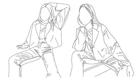 Two girls posing while sitting. Linear style. Vector illustration. Ilustração