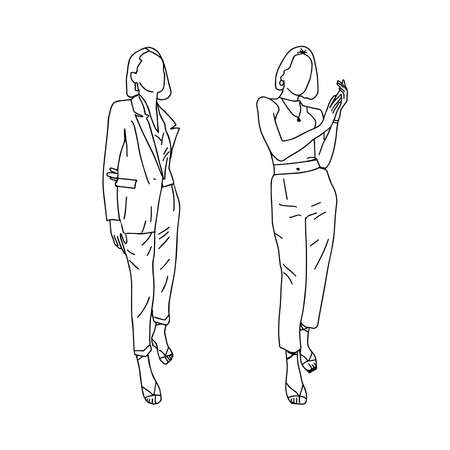 Business girls in different poses are drawn with a thin line. For registration of an account of a stylist, clothing store, fashion design. Vector illustration.