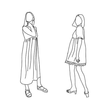 Drawn by a thin line young girls. For registration of an account of a stylist, clothing store, clothing design. Vector illustration.