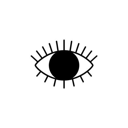 Idle eye icon with eyelashes for a website or application, as well as a silhouette for laser cutting. Eye treatment clinic. Vector illustration isolated on white.