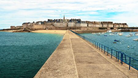 St. Malo and its jetty, Brittany, France.