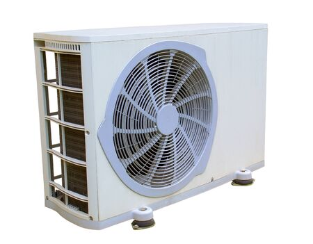 External unit of reversible air conditioner. White background. Stockfoto