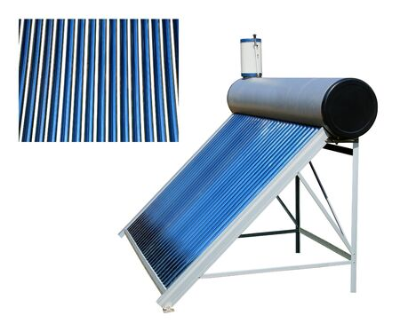 Solar water heater standing on the ground isolated on white background.