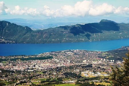 Aerial view of Aix-les-Bains on Lake Bourget in the French Alps