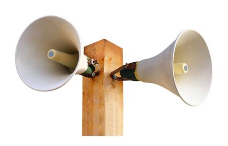 Double speaker on a mat with white background.