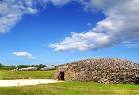 Remains of prehistoric buildings in Locmariaquer, Brittany, France