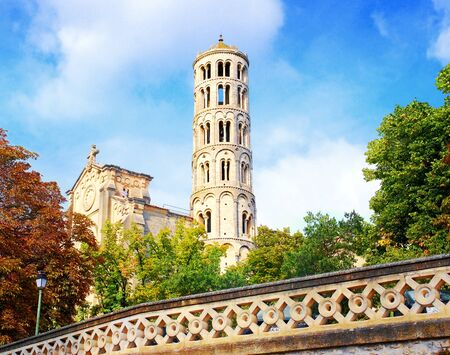 The Fenestrelle tower adjoining Saint Théodorit Cathedral in Uzès, Occitanie, France.