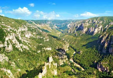 Panorama of the Tarn Gorges in Occitanie France Stock Photo