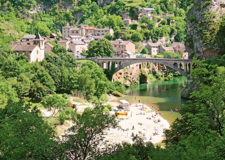 The Tarn at the bridge of Saint-Chély in the Gorges du Tarn in Occitanie,
