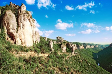 Eroded cliffs in the Tarn gorges in Occitanie France