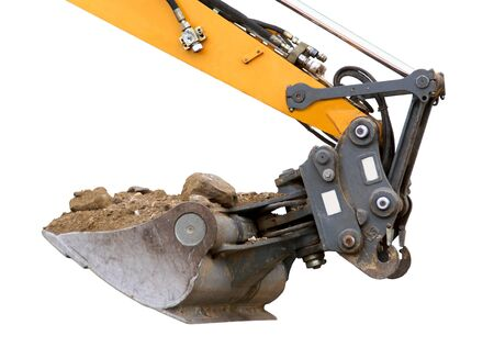 Excavator articulated at the end of the hydraulic arm of a tracto-shovel. Archivio Fotografico
