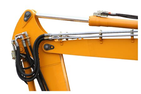 Mechanical arm jack of a backhoe isolated on white background.