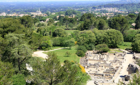 The archaeological site of Glanum in the Provence countryside in Saint-Rémy de Provence.