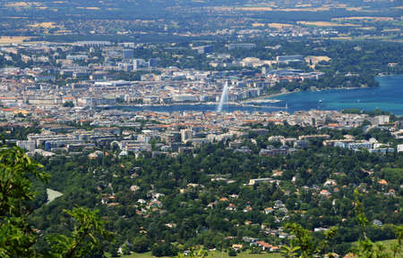 Aerial view of Geneva and the water jet on Lake Geneva.