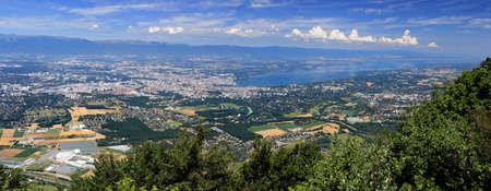 Aerial view of Geneva and Lake Geneva