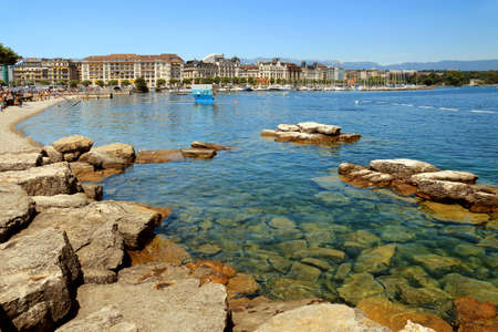 Leisure, swimming and water sports area on Lake Geneva in Geneva.