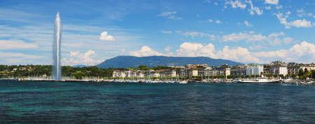 The shores of Lake Geneva and the marina. Archivio Fotografico