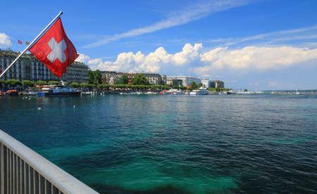 The banks of Lake Geneva and the marina.