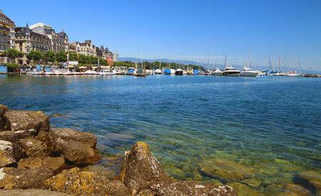 : Leisure, swimming and water sports area on Lake Geneva in Geneva.