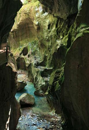 Gorges du Pont du Diable, dug for centuries by erosion. Le Jotti., France.