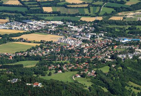 Aerial view of a Swiss village near Geneva.