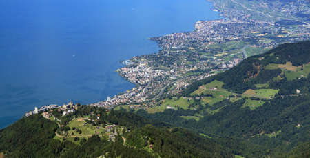Aerial view of the towns of Montreux and Vevey on Lake Geneva.