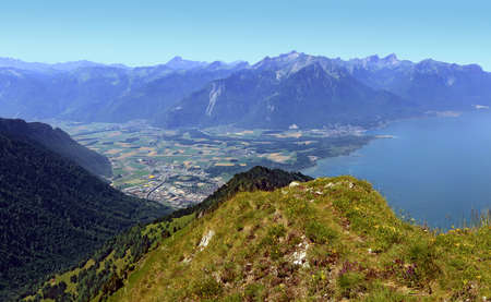 Aerial view of the eastern end of Lake Geneva, from the rocks of Naye, in Switzerland
