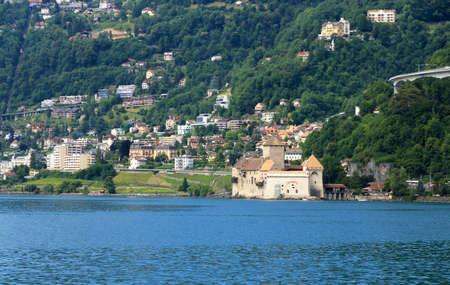 Chillon Castle on the shores of Lake Geneva, near Montreux. Archivio Fotografico