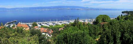 Panorama of the port of Thonon-les-Bains facing Lake Geneva.