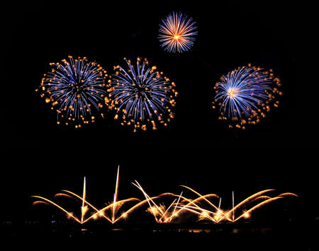 Composition of yellow and red fireworks Archivio Fotografico