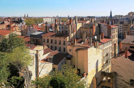 Aerial view of the historic center of Lyon near the Rhône. Archivio Fotografico