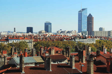 Near the old town, the recognizable towers of the La Part Dieu district in Lyon.