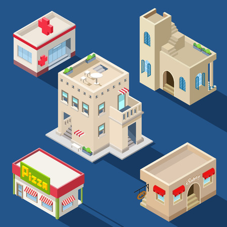 collection of isometric gaming buildings