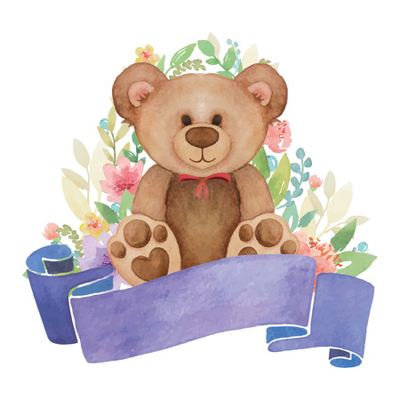 watercolor teddy bear toy with flowers decor