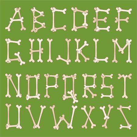Alfabetische set van cartoon botten brieven.